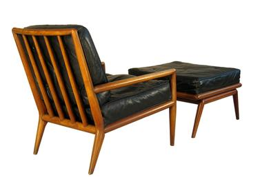 MM032 Widdicomb Chair and Ottoman / Original Black Leather